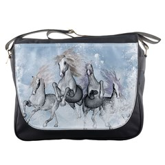 Awesome Running Horses In The Snow Messenger Bags by FantasyWorld7