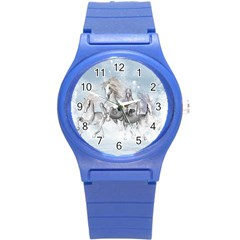 Awesome Running Horses In The Snow Round Plastic Sport Watch (s) by FantasyWorld7