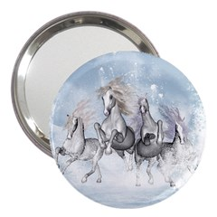 Awesome Running Horses In The Snow 3  Handbag Mirrors by FantasyWorld7