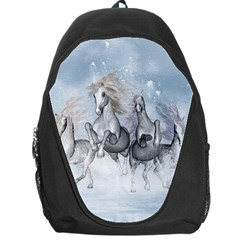 Awesome Running Horses In The Snow Backpack Bag by FantasyWorld7