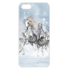 Awesome Running Horses In The Snow Apple Iphone 5 Seamless Case (white) by FantasyWorld7