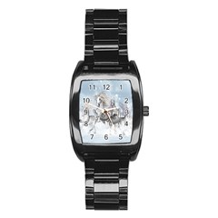 Awesome Running Horses In The Snow Stainless Steel Barrel Watch by FantasyWorld7