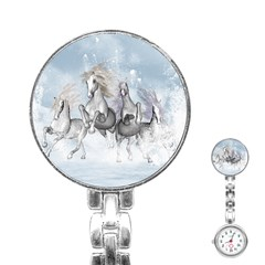 Awesome Running Horses In The Snow Stainless Steel Nurses Watch by FantasyWorld7