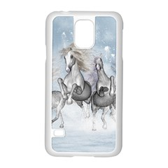 Awesome Running Horses In The Snow Samsung Galaxy S5 Case (white) by FantasyWorld7