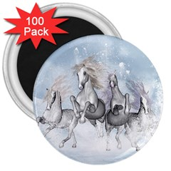 Awesome Running Horses In The Snow 3  Magnets (100 Pack) by FantasyWorld7