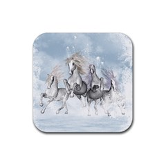 Awesome Running Horses In The Snow Rubber Square Coaster (4 Pack)  by FantasyWorld7