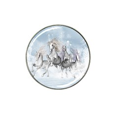 Awesome Running Horses In The Snow Hat Clip Ball Marker by FantasyWorld7