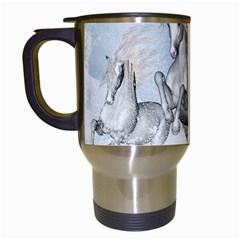Awesome Running Horses In The Snow Travel Mugs (white) by FantasyWorld7