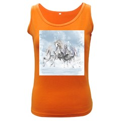 Awesome Running Horses In The Snow Women s Dark Tank Top by FantasyWorld7