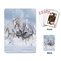 Awesome Running Horses In The Snow Playing Card by FantasyWorld7