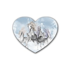 Awesome Running Horses In The Snow Rubber Coaster (heart)  by FantasyWorld7