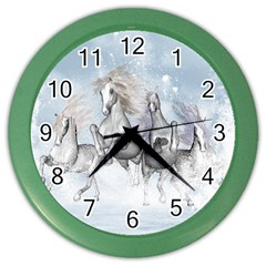 Awesome Running Horses In The Snow Color Wall Clocks by FantasyWorld7