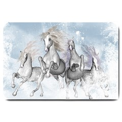 Awesome Running Horses In The Snow Large Doormat