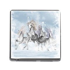 Awesome Running Horses In The Snow Memory Card Reader (square) by FantasyWorld7