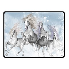 Awesome Running Horses In The Snow Fleece Blanket (small) by FantasyWorld7