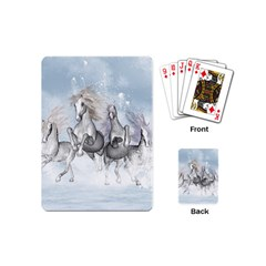 Awesome Running Horses In The Snow Playing Cards (mini)  by FantasyWorld7