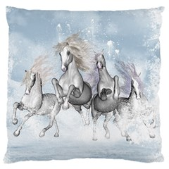 Awesome Running Horses In The Snow Large Cushion Case (one Side)
