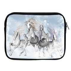 Awesome Running Horses In The Snow Apple Ipad 2/3/4 Zipper Cases by FantasyWorld7
