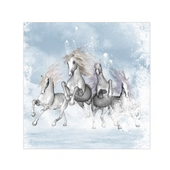 Awesome Running Horses In The Snow Small Satin Scarf (square)  by FantasyWorld7