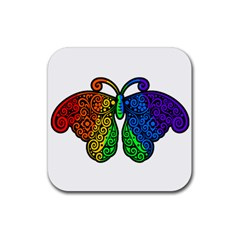 Rainbow Butterfly  Rubber Coaster (square)  by Valentinaart