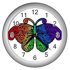 Rainbow Butterfly  Wall Clocks (silver)  by Valentinaart