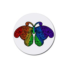 Rainbow Butterfly  Rubber Coaster (round)  by Valentinaart