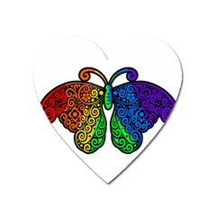 Rainbow Butterfly  Heart Magnet by Valentinaart