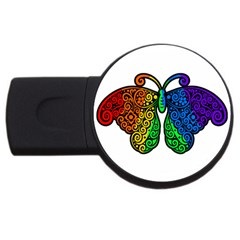 Rainbow Butterfly  Usb Flash Drive Round (2 Gb) by Valentinaart