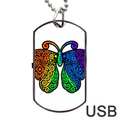 Rainbow Butterfly  Dog Tag Usb Flash (one Side) by Valentinaart