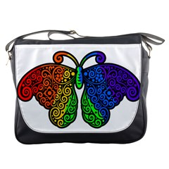 Rainbow Butterfly  Messenger Bags