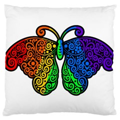 Rainbow Butterfly  Large Cushion Case (two Sides) by Valentinaart