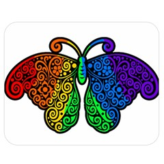 Rainbow Butterfly  Double Sided Flano Blanket (medium)