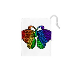 Rainbow Butterfly  Drawstring Pouches (xs)  by Valentinaart