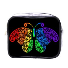 Rainbow Butterfly  Mini Toiletries Bags by Valentinaart