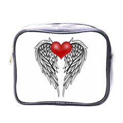 Angel Heart Tattoo Mini Toiletries Bags by Valentinaart