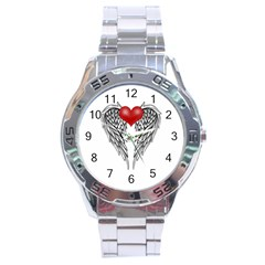 Angel Heart Tattoo Stainless Steel Analogue Watch by Valentinaart