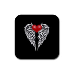 Angel Heart Tattoo Rubber Coaster (square)  by Valentinaart