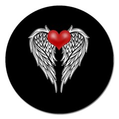 Angel Heart Tattoo Magnet 5  (round) by Valentinaart