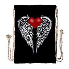 Angel Heart Tattoo Drawstring Bag (large) by Valentinaart