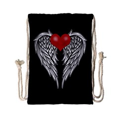 Angel Heart Tattoo Drawstring Bag (small) by Valentinaart