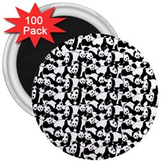 Panda Pattern 3  Magnets (100 Pack) by Valentinaart