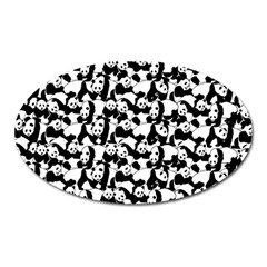 Panda Pattern Oval Magnet by Valentinaart