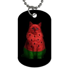 Watermelon Cat Dog Tag (one Side) by Valentinaart