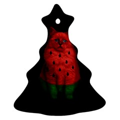 Watermelon Cat Christmas Tree Ornament (two Sides) by Valentinaart