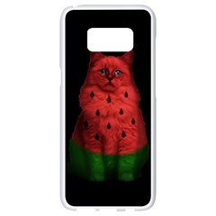 Watermelon Cat Samsung Galaxy S8 White Seamless Case by Valentinaart