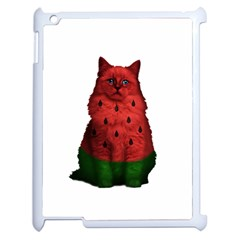 Watermelon Cat Apple Ipad 2 Case (white) by Valentinaart