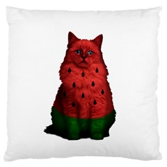Watermelon Cat Large Cushion Case (two Sides) by Valentinaart