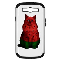 Watermelon Cat Samsung Galaxy S Iii Hardshell Case (pc+silicone) by Valentinaart