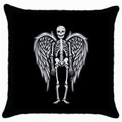 Angel Skeleton Throw Pillow Case (black) by Valentinaart
