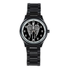 Angel Skeleton Stainless Steel Round Watch by Valentinaart
